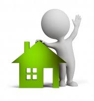 zielony człowieczek z domem